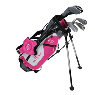 Picture of US Kids Junior UL45 4-Club Stand Bag Set WT-25u, Pink/White/Grey Bag
