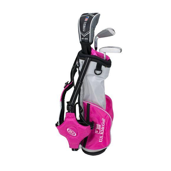 Picture of US Kids Junior UL39 3-Club Carry Bag Set WT-30u, Silver/Pink Bag
