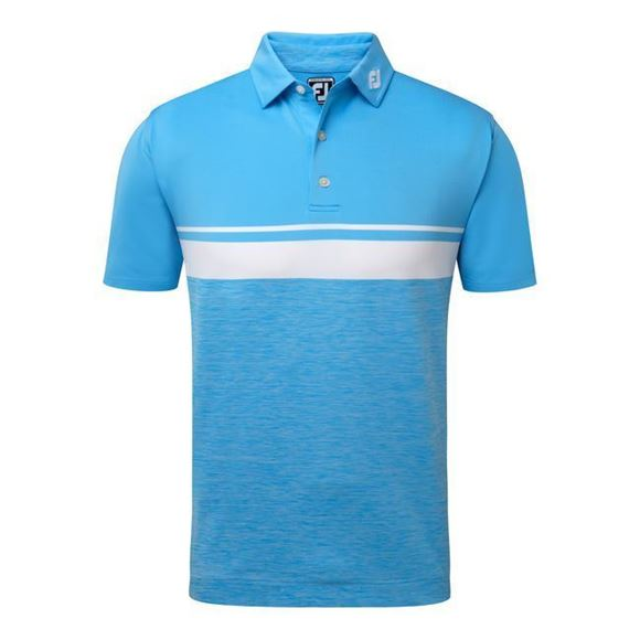 Picture of Footjoy Mens Athletic Fit Lisle Colour Block Space Dye Self Collar Polo Shirt