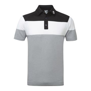 Picture of Footjoy Mens Raglan Chest Stripe Pique Polo Shirt 92164