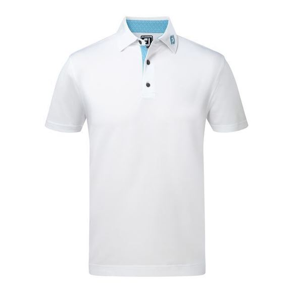 Picture of Footjoy Mens Athletic Fit Stretch Pique with Lisle Tie Print Trim Shirt