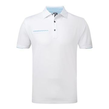 Picture of Footjoy Mens Smooth Pique Stripe Self Collar Polo Shirt 92154