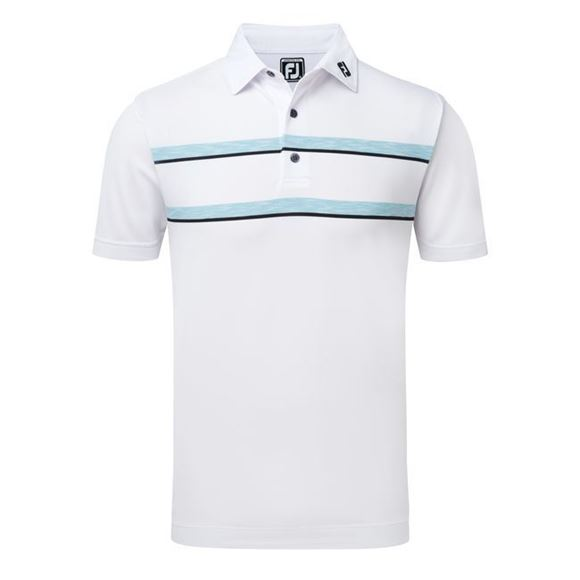 Picture of Footjoy Mens Stretch Pique Double Space Dye Chest Stripe Polo Shirt 91971