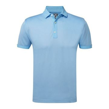 Picture of Footjoy Mens Athletic Fit Birdseye Pique with Circle Print Trim Polo Shirt