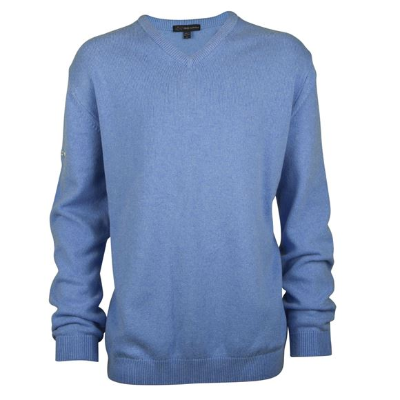 Picture of Greg Norman Golf Lambswool V-Neck Sweater - Blue