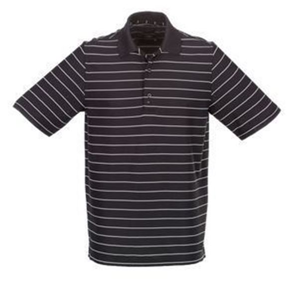 Picture of Greg Norman Golf Protek Micro Pique Stripe Polo Shirt - Black/White