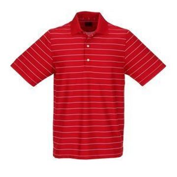 Picture of Greg Norman Golf Protek Micro Pique Stripe Polo Shirt - Cardinal/White
