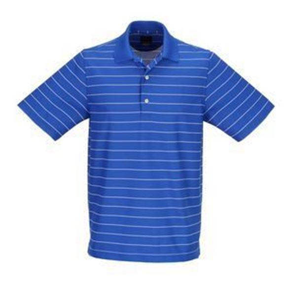 Picture of Greg Norman Golf Protek Micro Pique Stripe Polo Shirt - Maritime/White