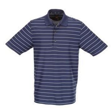 Picture of Greg Norman Golf Protek Micro Pique Stripe Polo Shirt - Navy/White