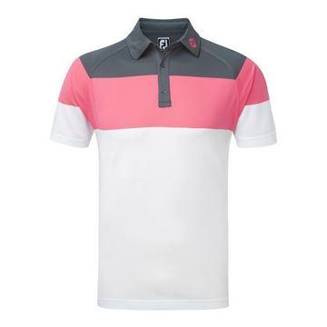 Picture of Footjoy Mens Raglan Chest Stripe Pique Polo Shirt 92162
