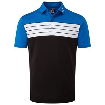 Picture of Footjoy Mens Stretch Pique Striped Colour Block Polo Shirt - 92439