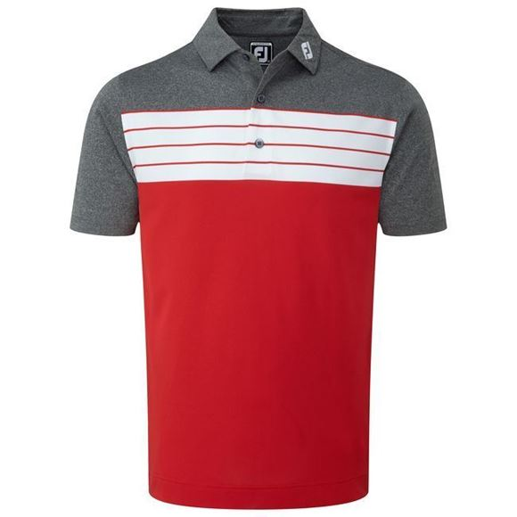 Picture of Footjoy Mens Stretch Pique Striped Colour Block Polo Shirt - 92438