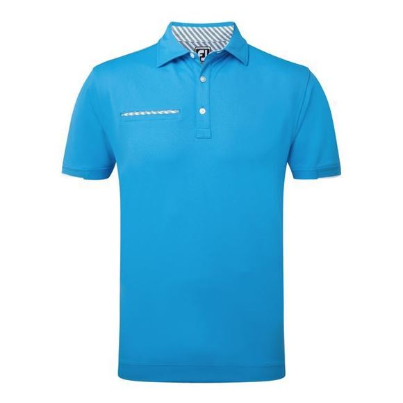 Picture of Footjoy Mens Smooth Pique Stripe Self Collar Polo Shirt 92155