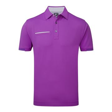 Picture of Footjoy Mens Smooth Pique Stripe Self Collar Polo Shirt 91997