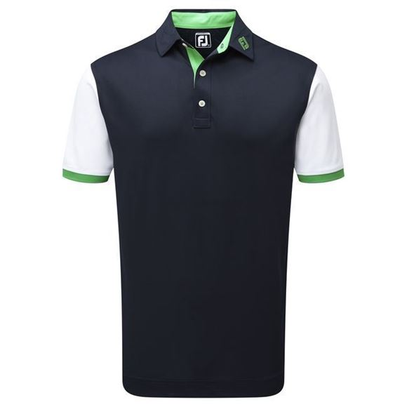 Picture of Footjoy Mens Stretch Pique Striped Colour Block Polo Shirt - 92474