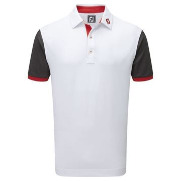 Picture of Footjoy Mens Stretch Pique Striped Colour Block Polo Shirt - 92472