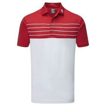 Picture of Footjoy Mens Stretch Pique Striped Colour Block Polo Shirt - 92466