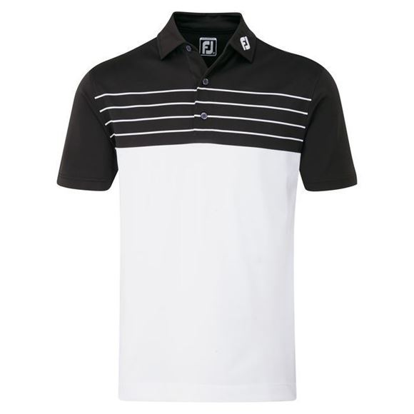 Picture of Footjoy Mens Stretch Pique Striped Colour Block Polo Shirt - 92464