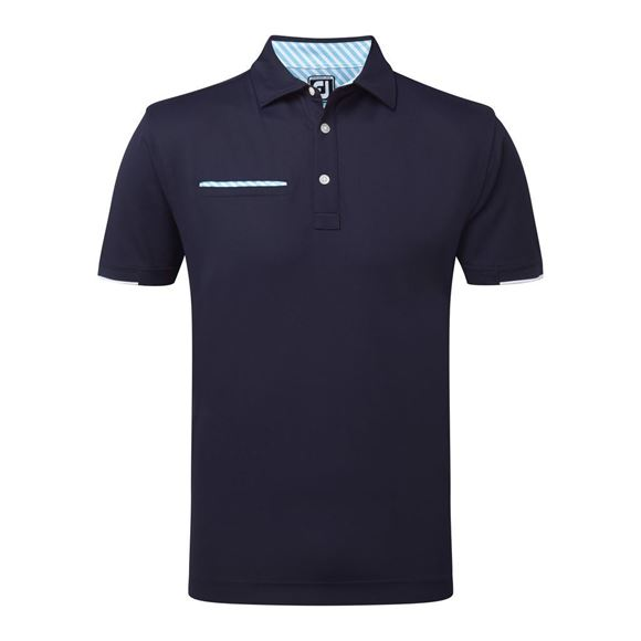 Picture of Footjoy Mens Smooth Pique Stripe Self Collar Polo Shirt 92153