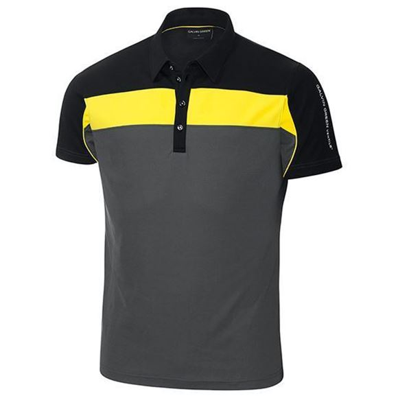 Picture of Galvin Green Mens Manny Golf Shirt - Iron / Yellow