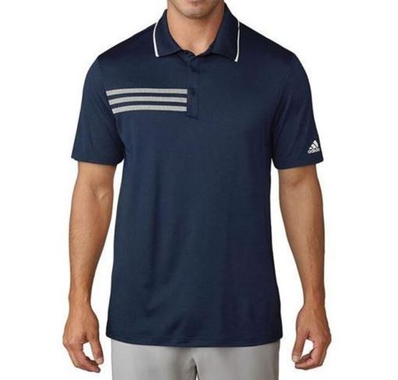 Picture of Adidas Mens 3-Stripe Mesh Collar Shirt - Navy