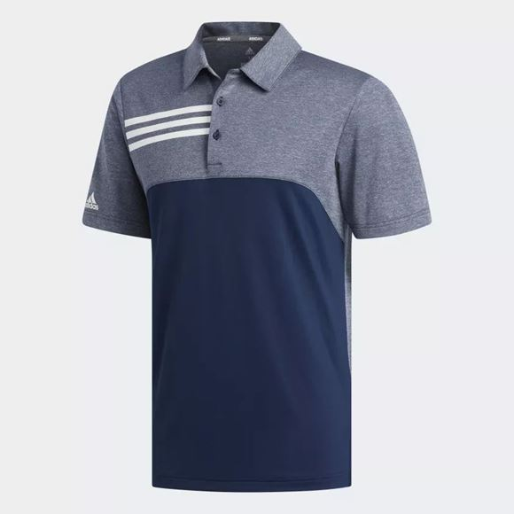 Picture of Adidas Mens 3-Stripe Heather Blocked Polo Shirt - Navy/Grey