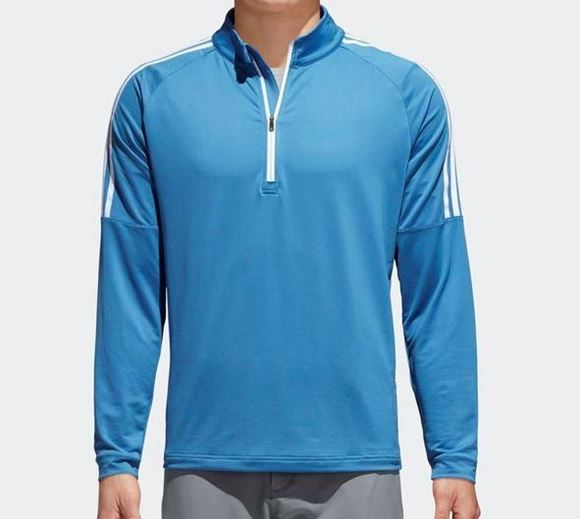 Picture of Adidas Mens 3 Stripe 1/4 Zip Pullover - Blue