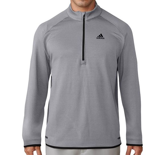 Picture of Adidas Mens Climaheat Gridded 1/4 Zip Pullover - Grey