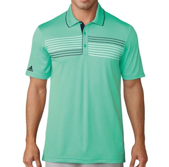 Picture of Adidas Mens Texture Tipped Climacool Polo Shirt - Green
