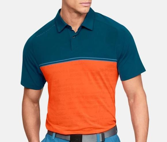 Picture of Under Armour Mens Microthread Calibrate Polo Shirt - Blue/Orange