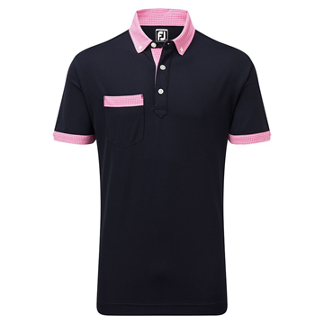 Picture of Footjoy Mens Smooth Pique Houndstooth Collar Polo Shirt 91667