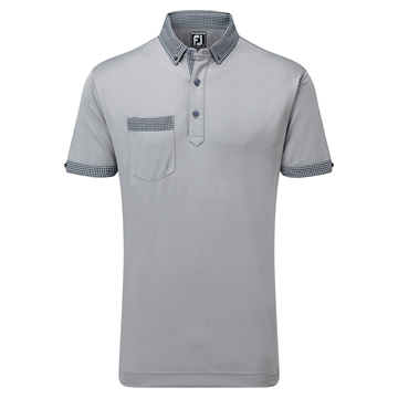 Picture of Footjoy Mens Smooth Pique Houndstooth Collar Polo Shirt 91837