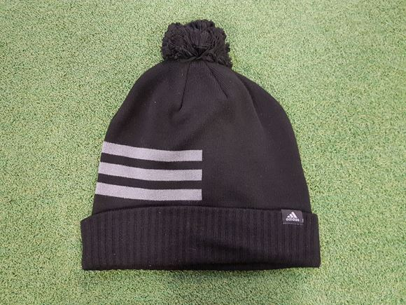 adidas 3 Stripe Bobble Hat - Black Grey - Next Day Delivery Golf ... a970ee911f2