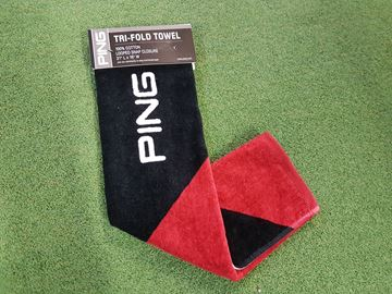 Picture of Ping Tri-Fold Towel - Black/Red