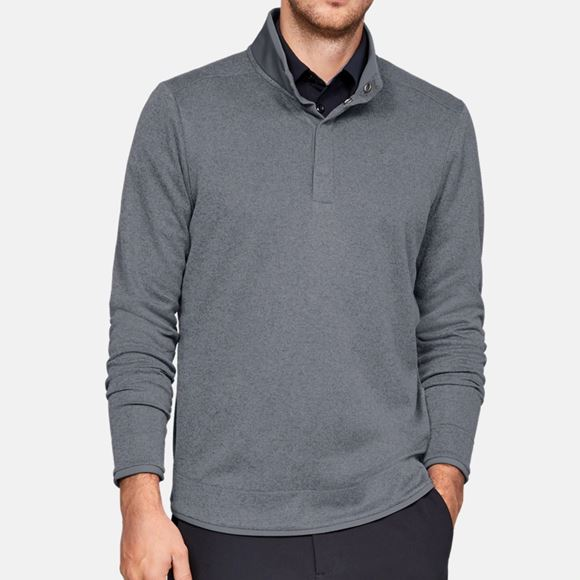 Picture of Under Armour Mens Storm Sweater Fleece Heather Snap Mock - Grey