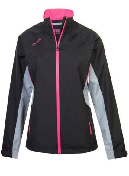 Picture of ProQuip Ladies Aquastorm Ebony Waterproof Jacket - Black/Grey/Pink