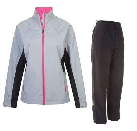 Picture of ProQuip Ladies Ebony Aquastorm Waterproof Suit - Grey/Black/Pink