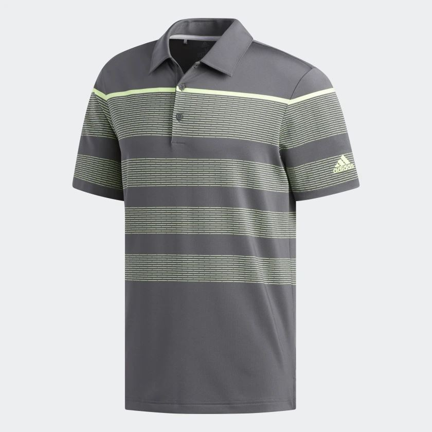 33cdf1075772 Picture of Adidas Mens Ultimate 365 Dash Stripe Polo Shirt - Grey/Yellow