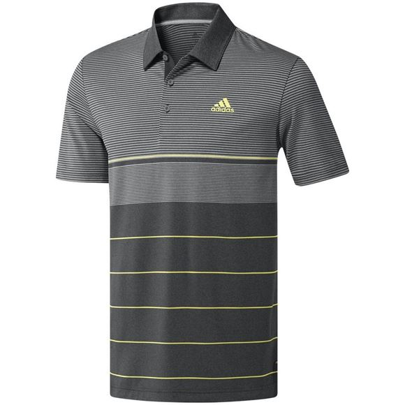 Picture of Adidas Mens Ultimate 365 3 Stripes Heathered Polo Shirt - Grey/Black/Yellow