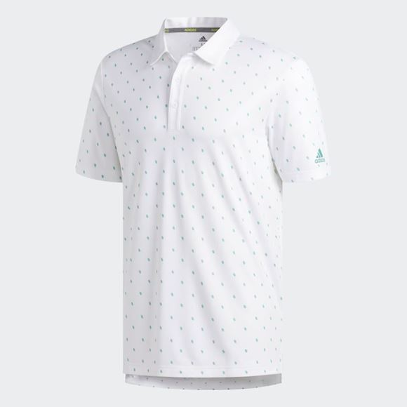 Picture of Adidas Mens Core Printed Polo Shirt - White/Green