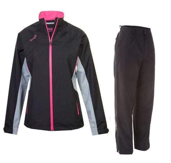 Picture of ProQuip Ladies Ebony Aquastorm Waterproof Suit - Black/Grey/Pink