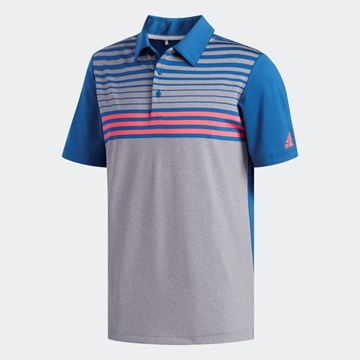Picture of Adidas Mens Ultimate 365 3 Stripes Heathered Polo Shirt - DX1257