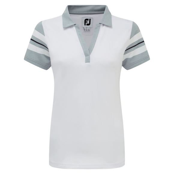Picture of Footjoy Ladies Baby Pique Sleeve Stripe Shirt - 96040