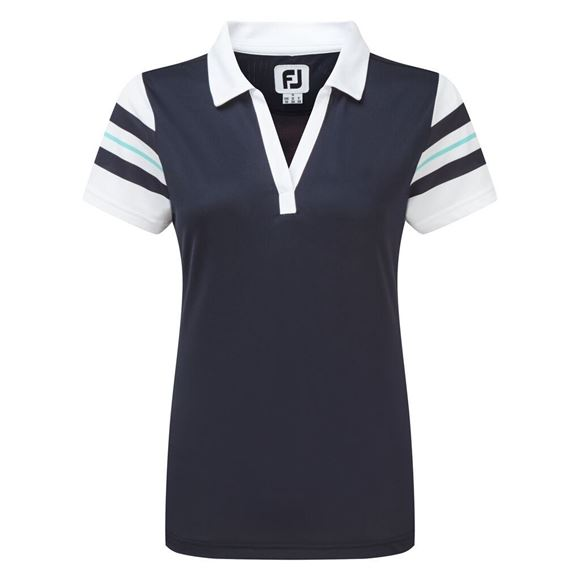 Picture of Footjoy Ladies Baby Pique Sleeve Stripe Shirt - 96042