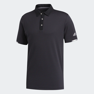 Picture of Adidas Mens HEAT.RDY Striped Polo Shirt - Black/Carbon