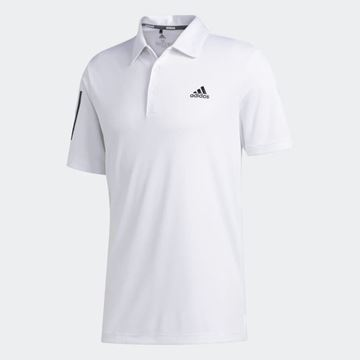 Picture of Adidas Mens 3 Stripes Basic Polo Shirt - White/Black