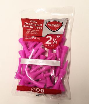 "Picture of 25 Pink Graduated Plastic Tees (2 1/4"" 57mm)"