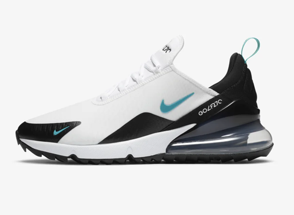 Picture of Nike Air Max 270 G Golf Shoes - White/Black/Metallic Silver/Dusty Cactus