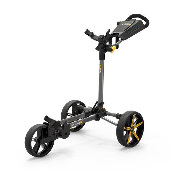 Picture of Powakaddy DLX-Lite FF Push Trolley - Gunmetal with Yellow Trim